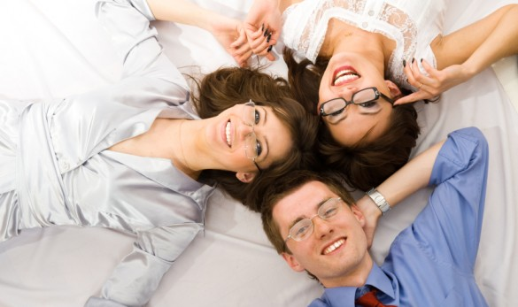 Three young business people